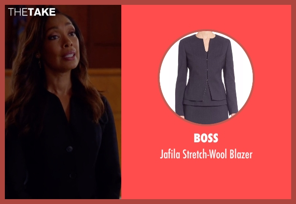 Boss blue blazer from Suits seen with  Jessica Pearson (Gina Torres)
