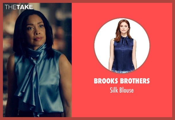 Brooks Brothers blue blouse from Suits seen with  Jessica Pearson (Gina Torres)