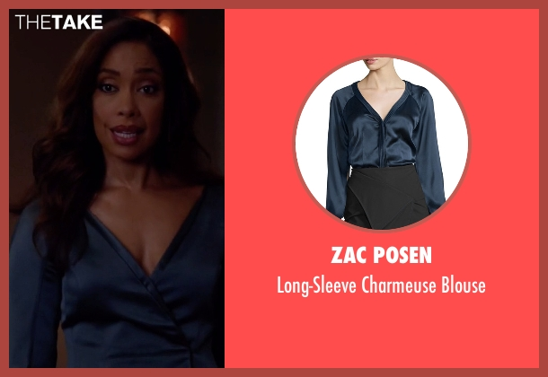 Zac Posen blue blouse from Suits seen with  Jessica Pearson (Gina Torres)