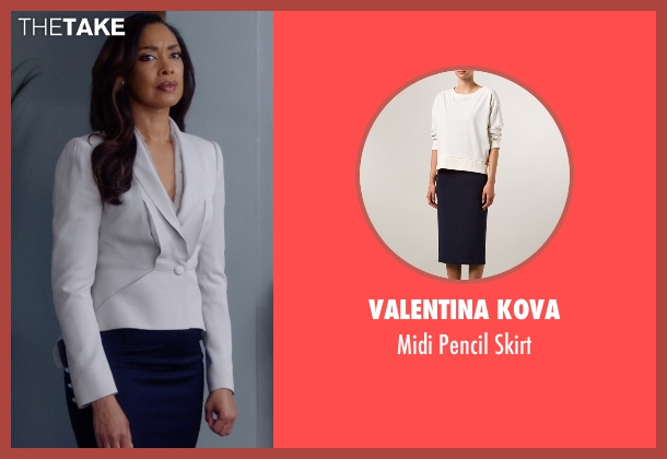 Valentina Kova blue skirt from Suits seen with  Jessica Pearson (Gina Torres)
