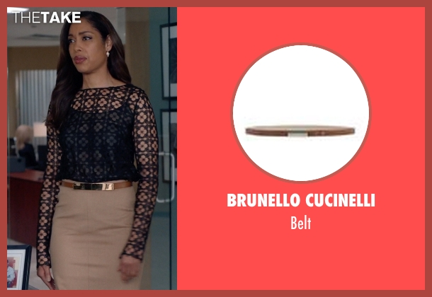 Brunello Cucinelli brown belt from Suits seen with  Jessica Pearson (Gina Torres)