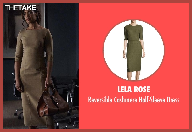 Lela Rose brown dress from Suits seen with  Jessica Pearson (Gina Torres)