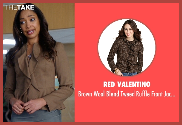 Red Valentino brown jacket from Suits seen with  Jessica Pearson (Gina Torres)