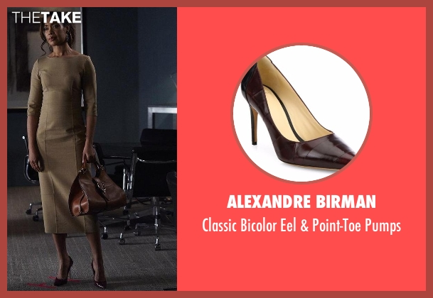 Alexandre Birman brown pumps from Suits seen with  Jessica Pearson (Gina Torres)