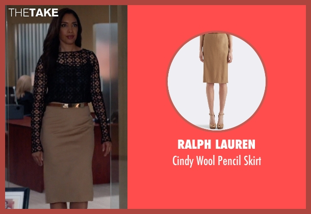 Ralph Lauren brown skirt from Suits seen with  Jessica Pearson (Gina Torres)
