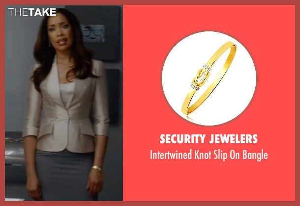 Security Jewelers gold bangle from Suits seen with  Jessica Pearson (Gina Torres)