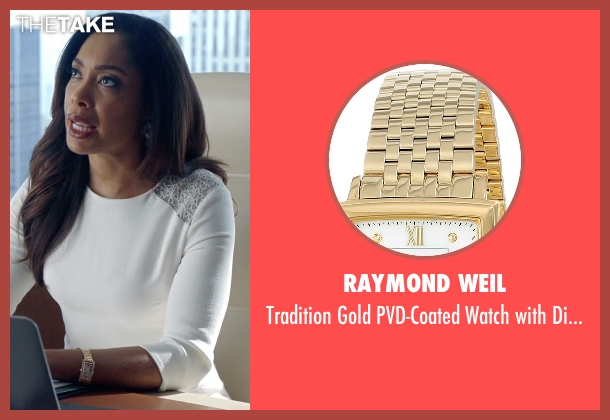 Raymond Weil gold diamonds from Suits seen with Jessica Pearson (Gina Torres)