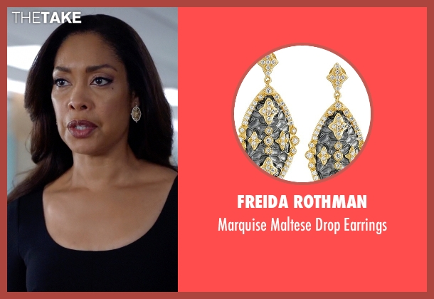 Freida Rothman gold earrings from Suits seen with  Jessica Pearson (Gina Torres)