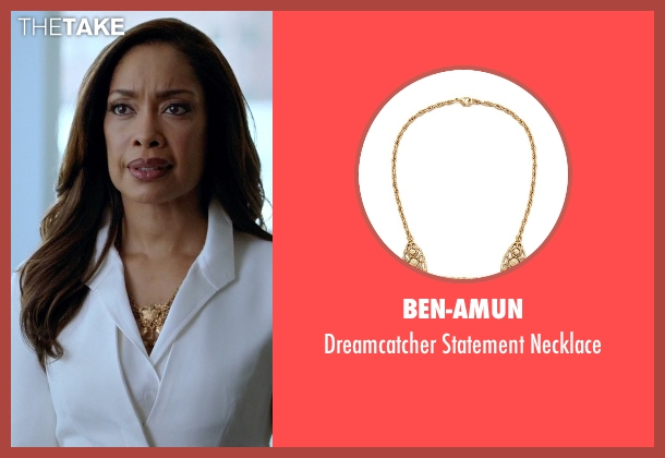 Ben-Amun gold necklace from Suits seen with  Jessica Pearson (Gina Torres)