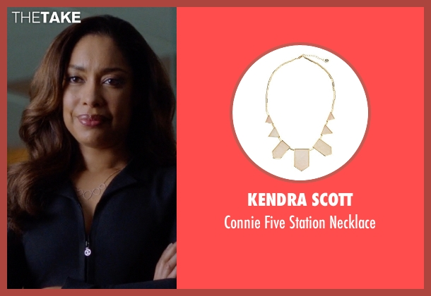 Kendra Scott gold necklace from Suits seen with  Jessica Pearson (Gina Torres)