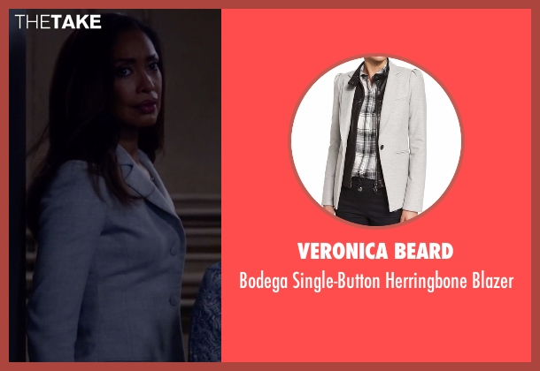 Veronica Beard gray blazer from Suits seen with  Jessica Pearson (Gina Torres)