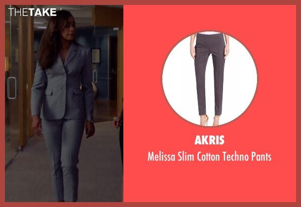 Akris  gray pants from Suits seen with  Jessica Pearson (Gina Torres)