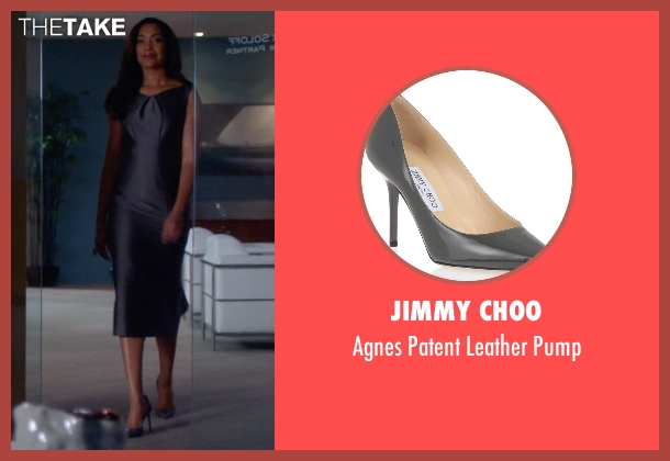 Jimmy Choo gray pump from Suits seen with  Jessica Pearson (Gina Torres)
