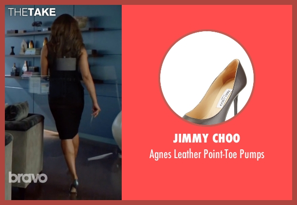 Jimmy Choo	 gray pumps from Suits seen with  Jessica Pearson (Gina Torres)