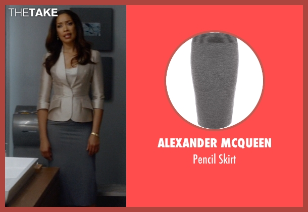 Alexander McQueen gray skirt from Suits seen with  Jessica Pearson (Gina Torres)