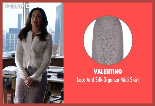 Valentino gray skirt from Suits seen with  Jessica Pearson (Gina Torres)