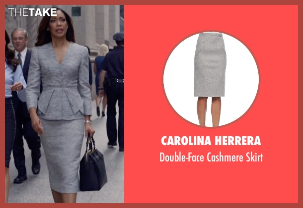 Carolina Herrera gray skirt from Suits seen with  Jessica Pearson (Gina Torres)