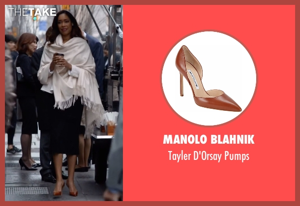 Manolo Blahnik orange pumps from Suits seen with  Jessica Pearson (Gina Torres)