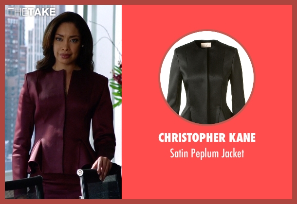Christopher Kane red jacket from Suits seen with  Jessica Pearson (Gina Torres)