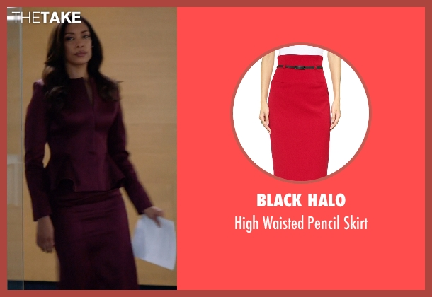 Black Halo red skirt from Suits seen with  Jessica Pearson (Gina Torres)