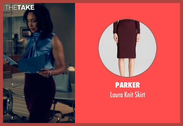 Parker red skirt from Suits seen with Jessica Pearson (Gina Torres)
