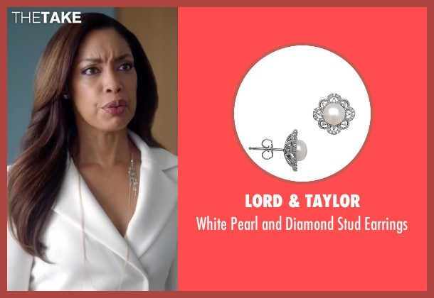 Lord & Taylor silver earrings from Suits seen with  Jessica Pearson (Gina Torres)
