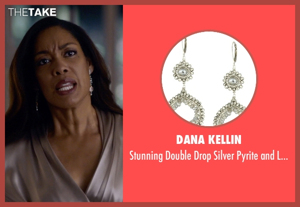 Dana Kellin silver earrings from Suits seen with  Jessica Pearson (Gina Torres)