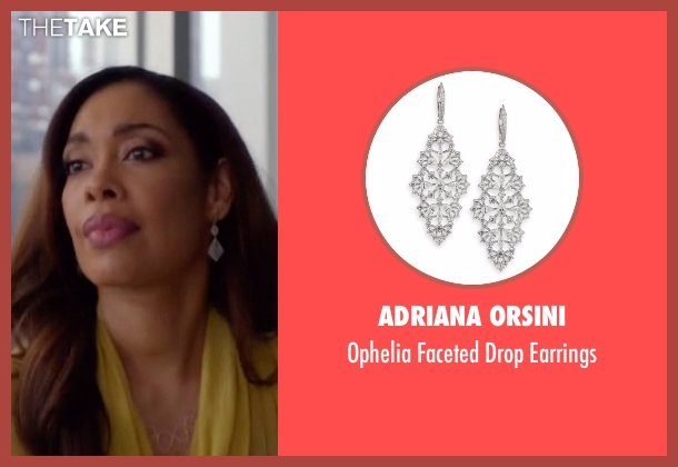Adriana Orsini silver earrings from Suits seen with Jessica Pearson (Gina Torres)