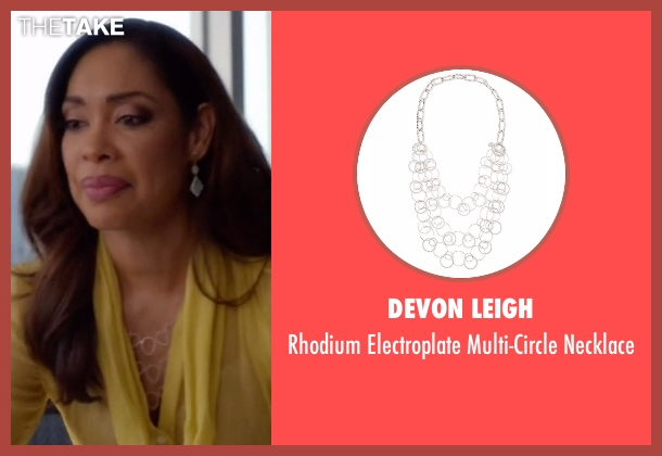 Devon Leigh silver necklace from Suits seen with  Jessica Pearson (Gina Torres)