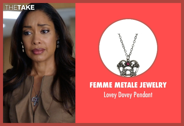 Femme Metale Jewelry silver pendant from Suits seen with  Jessica Pearson (Gina Torres)