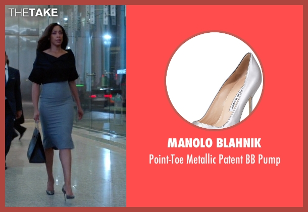 Manolo Blahnik silver pump from Suits seen with Jessica Pearson (Gina Torres)