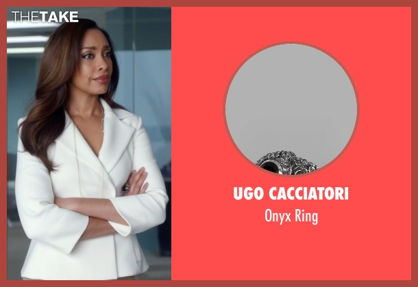 Ugo Cacciatori silver ring from Suits seen with  Jessica Pearson (Gina Torres)