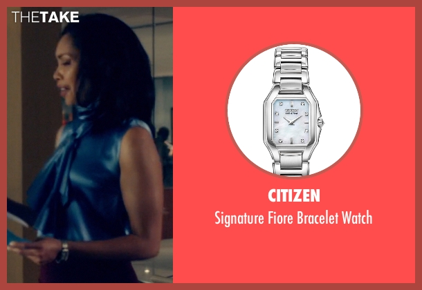 Citizen silver watch from Suits seen with  Jessica Pearson (Gina Torres)