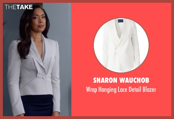 Sharon Wauchob white blazer from Suits seen with  Jessica Pearson (Gina Torres)