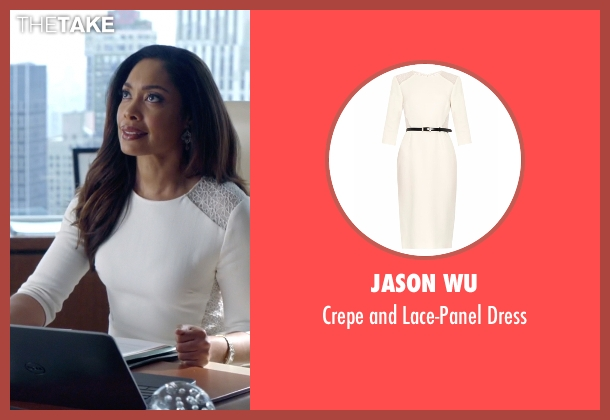 Jason Wu white dress from Suits seen with  Jessica Pearson (Gina Torres)