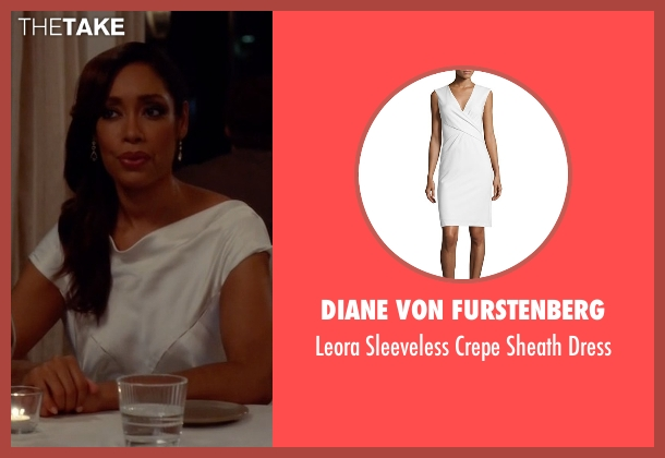 Diane Von Furstenberg white dress from Suits seen with  Jessica Pearson (Gina Torres)