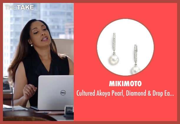 Mikimoto white earrings from Suits seen with  Jessica Pearson (Gina Torres)
