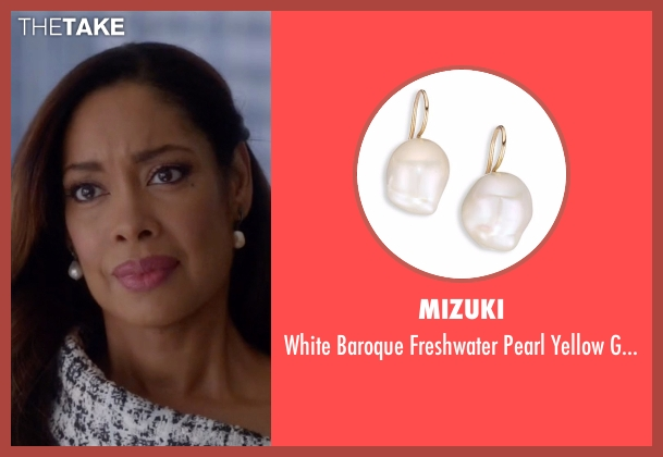 Mizuki white earrings from Suits seen with Jessica Pearson (Gina Torres)