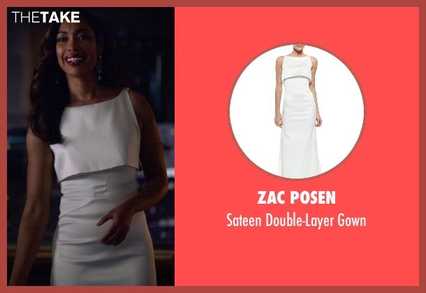 Zac Posen white gown from Suits seen with  Jessica Pearson (Gina Torres)