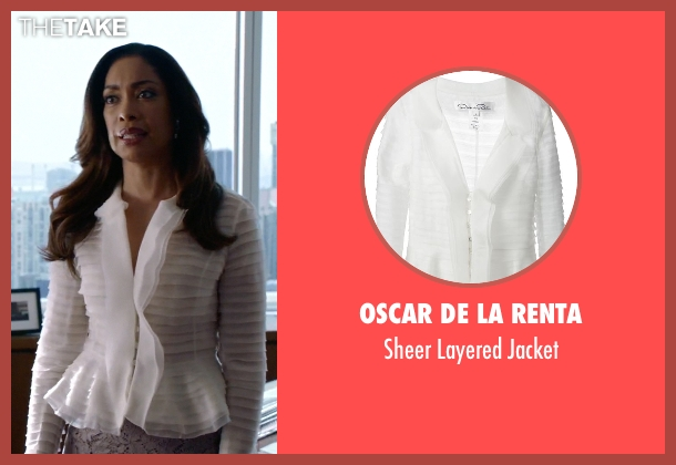 Oscar De La Renta white jacket from Suits seen with  Jessica Pearson (Gina Torres)