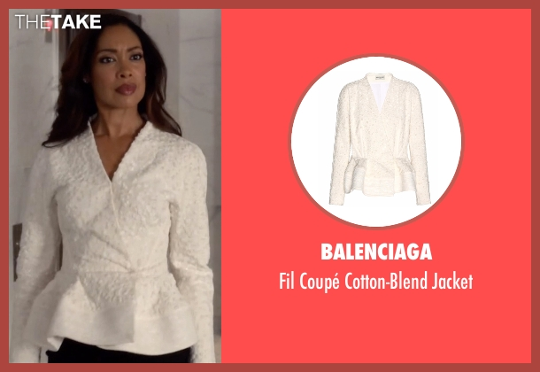 Balenciaga white jacket from Suits seen with  Jessica Pearson (Gina Torres)