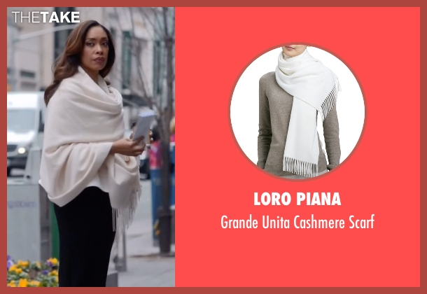 Loro Piana white scarf from Suits seen with  Jessica Pearson (Gina Torres)