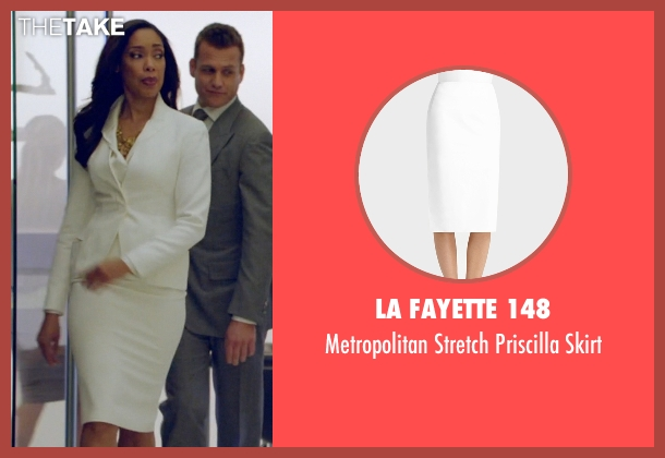 La Fayette 148 white skirt from Suits seen with Jessica Pearson (Gina Torres)
