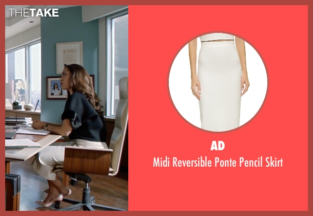 AD white skirt from Suits seen with  Jessica Pearson (Gina Torres)