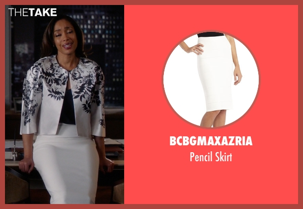 BCBGMAXAZRIA white skirt from Suits seen with  Jessica Pearson (Gina Torres)