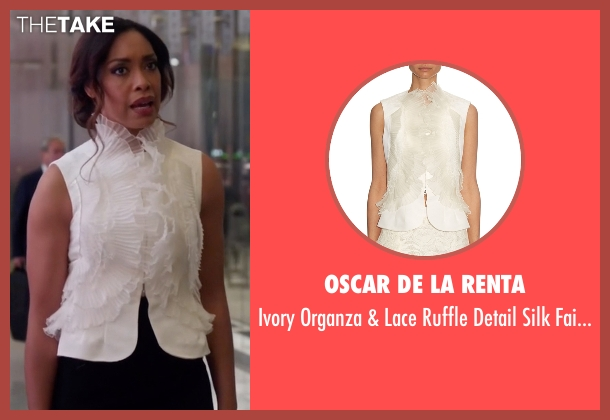 Oscar De La Renta white vest from Suits seen with Jessica Pearson (Gina Torres)