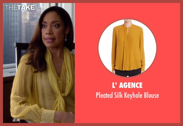 L' Agence yellow blouse from Suits seen with Jessica Pearson (Gina Torres)