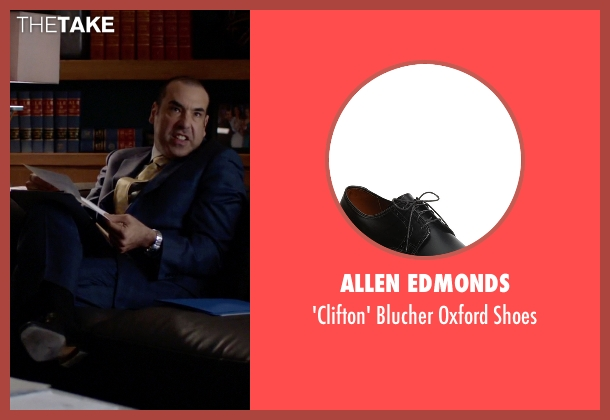 Allen Edmonds black shoes from Suits seen with Louis Litt (Rick Hoffman)