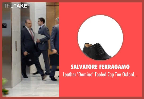 Salvatore Ferragamo black shoes from Suits seen with  Louis Litt (Rick Hoffman)