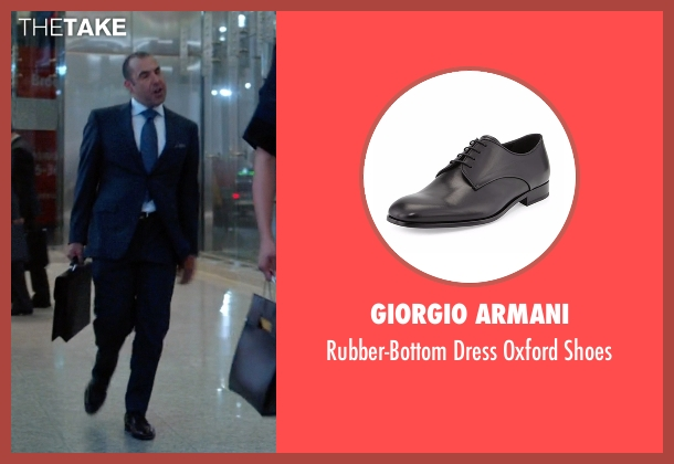 Giorgio Armani black shoes from Suits seen with  Louis Litt (Rick Hoffman)
